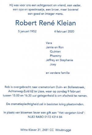 Rouwkaart Rob Kleian